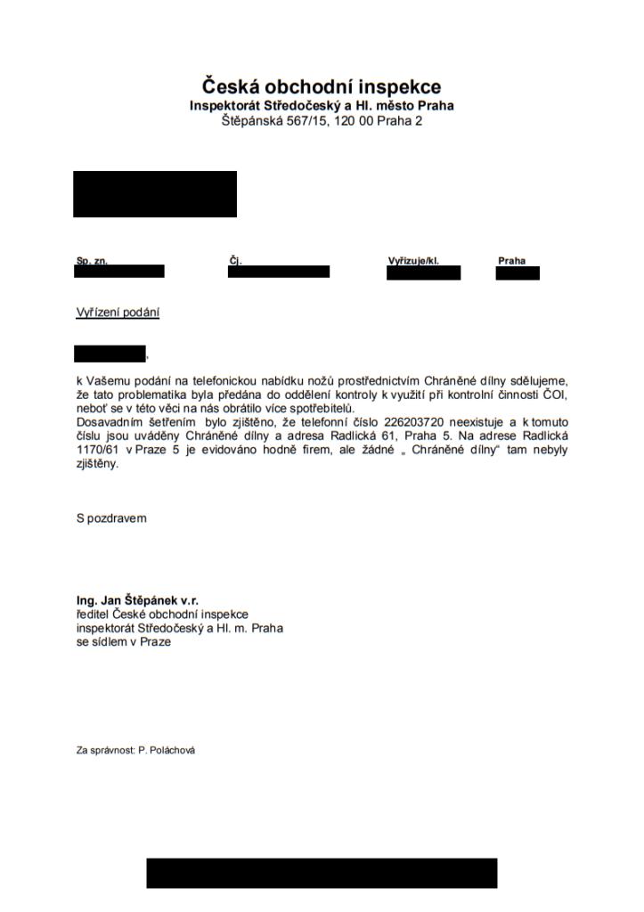 Česká obchodní inspekce prověřuje Chráněné dílny pro podezření z podvodu