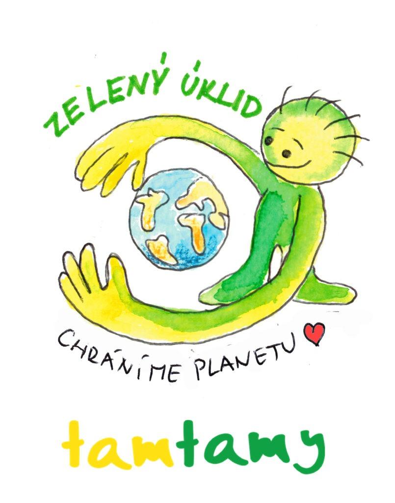 Je to logo, zdůrazňující, že chráníme planetu, zelený panáček, který mezi rukama objímá planetu