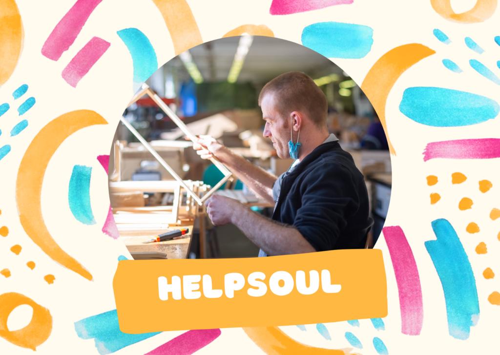 V prostředku obrázku je člověk, který něco vyrábí a pod ním název Výrobního družstva HelpSoul